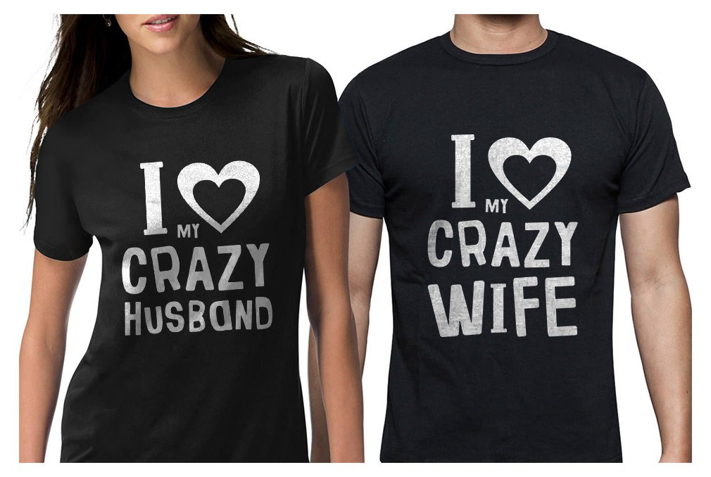 Funny Husband & Wife Couples Gift Anniversary/Newlywed Matching Set T-Shirts Man Black Large/Woman Black Small