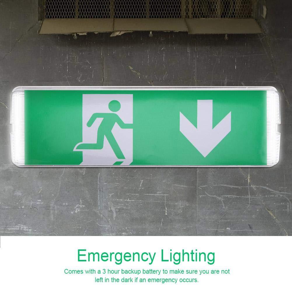 Cartello Sicurezza Cartello Uscita di Emergenza Ufficio Ospedale IP 65 Magazzino Destra Lampada di Emergenza per Scuola 8W Zoternen Luce di Emergenza LED Plafoniera Emergenza LED