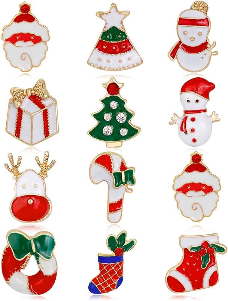 malyunin エナメルクリスマスブローチ サンタクロースピンセット ジュエリー レディース ガールズ クリスマスギフト 12個パック