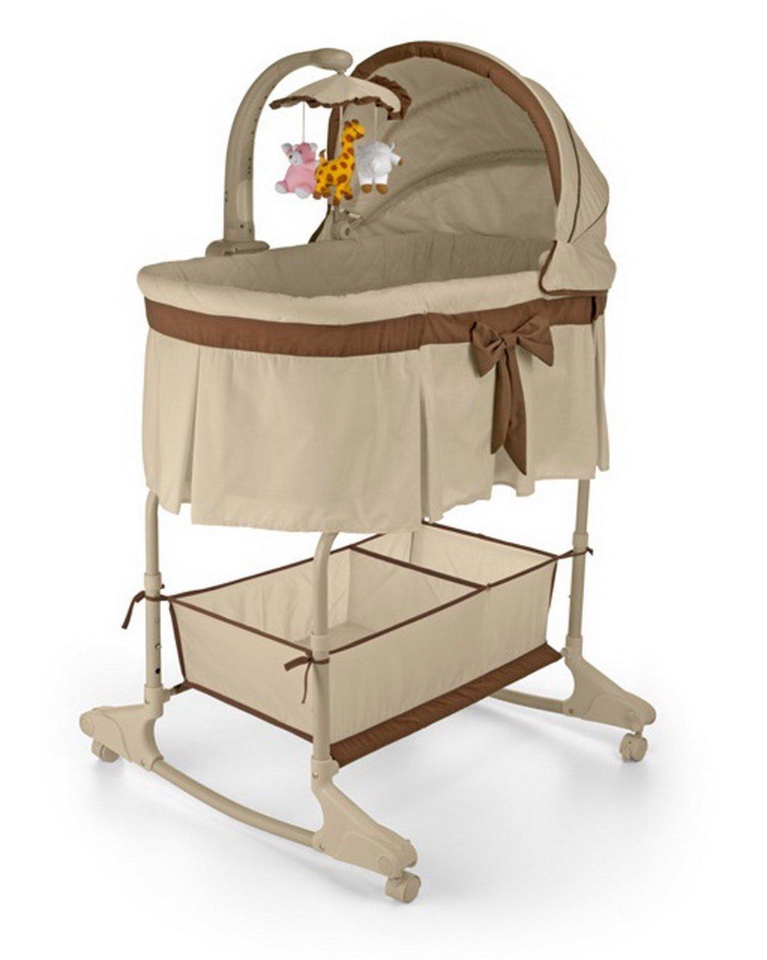 Lasse SPELA–Sweet Melody di Baby culla con materasso Mobile Musica zanzariera Vibration per telecomando, 87x 73x 27cm, Beige Prezzi offerte