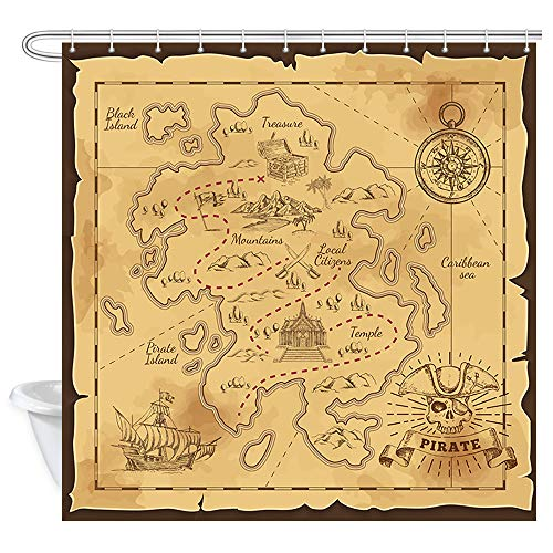 JAWO Island Map Shower Curtain, Old Pirates Treasure Map Nautical Bathroom Curtain, Polyester Fabric Bath Curtains with Hooks 69W X 70L Inches