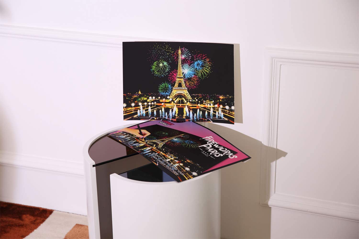 Scratch Art for Adults Scratch Paper Rainbow Painting Sketch Pads DIY Art Craft Night View Scratchboard with Clean Brush,Scratch Coloring Pen,16 X 11.2 Inches Fireworks Paris