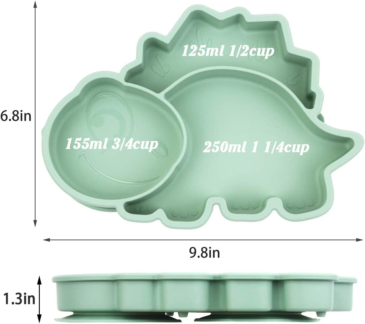 Portable Non Slip Suction Toddler Plates for Children Babies and Kids BPA Free FDA Approved Baby Dinner Plate Silicone Baby Plates Divided Dishwasher and Microwave Safe