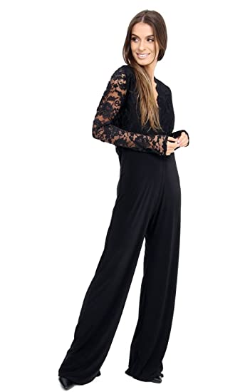 469d89e74cc3 Women s Lace Jumpsuit Long Sleeve playsuit Top Slinky lot Plus size. UK 16- 24  Amazon.co.uk  Clothing