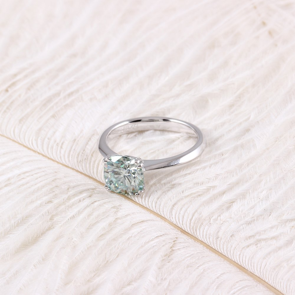 TransGems 2ct Diameter 7.5mm Cushion Cut 2.8mm Width 8 Prongs Moissanite Engagement Ring Platinum Plated Silver (5) by TransGems (Image #3)