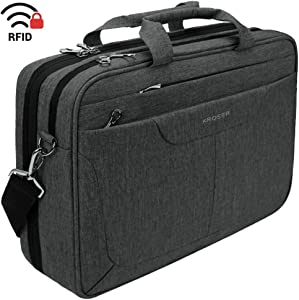 KROSER Laptop Bag 15.6 inch Briefcase Laptop Messenger Bag Water Repellent Computer Case Tablet Sleeve with RFID Pockets for College/School/Business/Women/Men-Charcoal Black