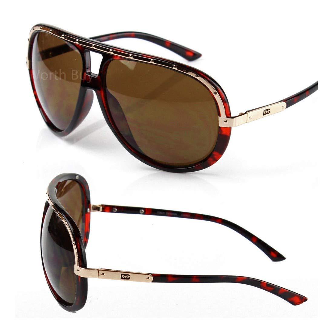 DG Eyewear Mens Sunglasses Shades Designer Camo Gold Pilot Wrap Turbo Large