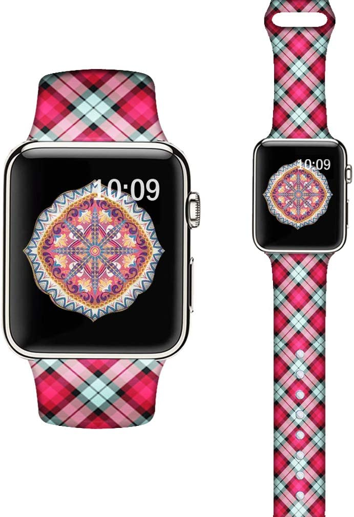 LAACO Silicone Sport Bands Compatible with Apple Watch 44mm for Women, Floral Sport Band, Red Plaid Fadeless Pattern Printed Replacement Strap Bands Compatible with iWatch 42mm Series 5 4 3 2 1