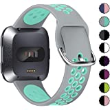 XIMU Sport Bands Compatible with Fitbit Versa/Versa 2 / Versa Lite, Soft Silicone Waterproof Breathable Sport Watch Strap Replacement Wristband Accessories Women Man for Versa Smart Watch