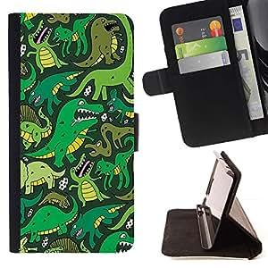 Dinosaurio verde de la historieta T Rex- Modelo colorido cuero de la carpeta del tirón del caso cubierta piel Holster Funda protecció Para Apple Apple iPhone 4 / iPhone 4S