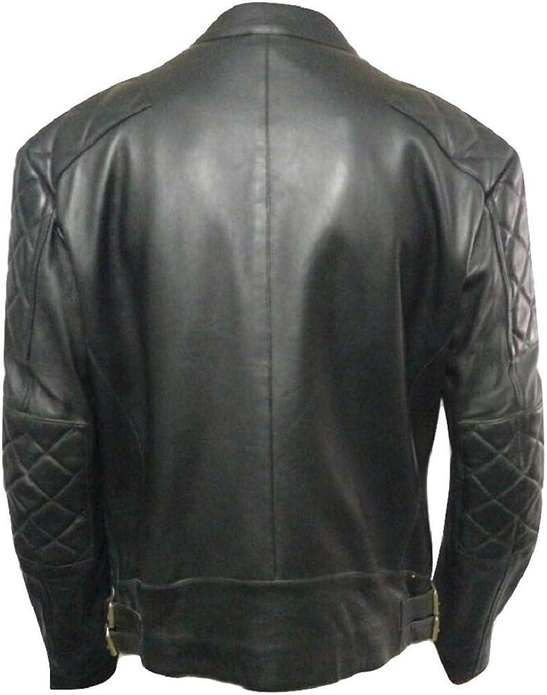 Bestzo Mens Fashion Brando Style Cow Leather Jacket Black