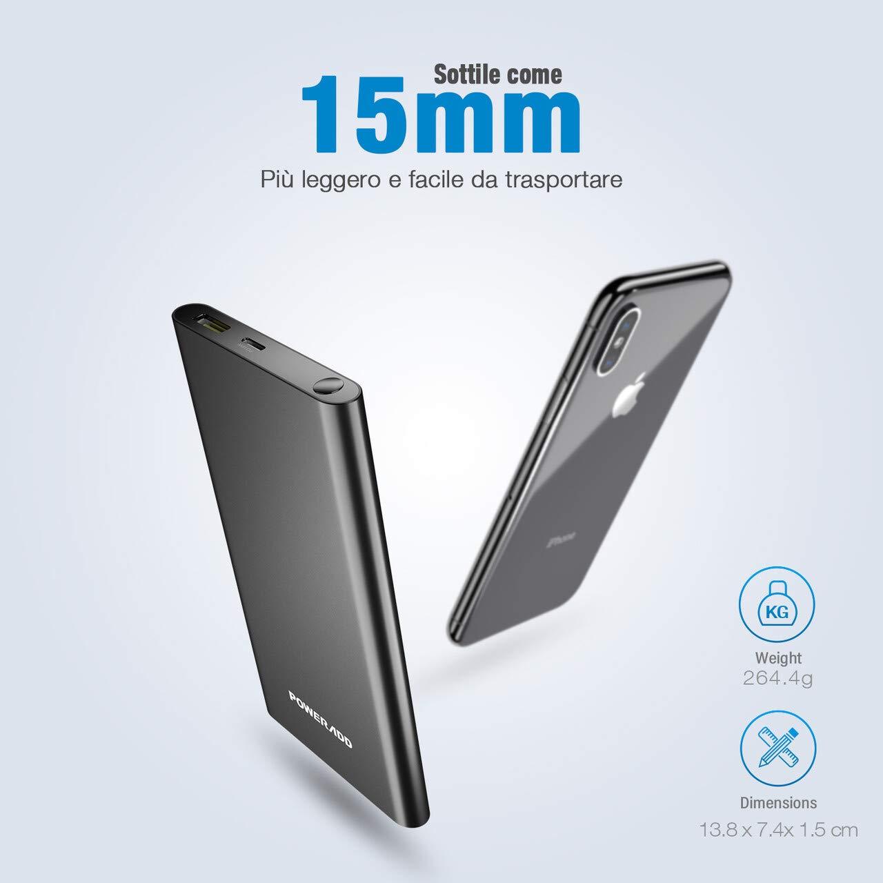 POWERADD Pilot 2GS PRO Powerbank da 10000mAh Caricabatterie Portatile da PD 18W, Carica Rapida per Huawei, Samsung, Xiaomi, iPhone e Tanti Altri