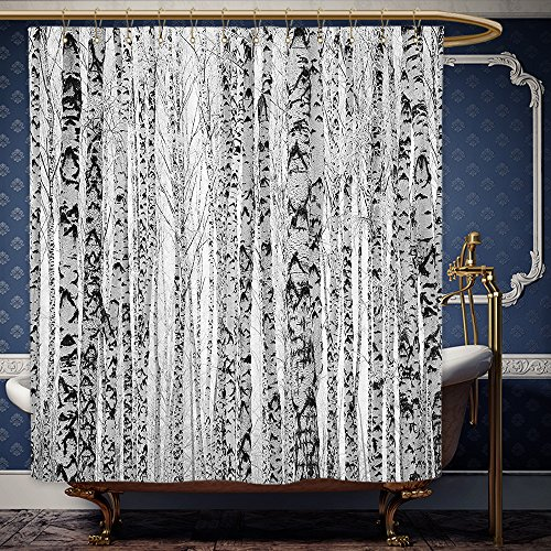 Wanranhome Custom-made shower curtain Lake House Decor High Winter Trunks Leafless Nude Raw Birch Timber Trees Forest Environment Image Grey For Bathroom Decoration 48 x 72 - Nude United Nyc