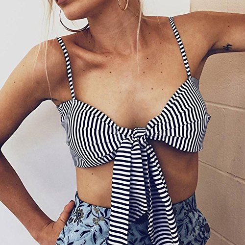 Mujer Raya Tank Crop Tops Bra Chaleco Blusa Sin Mangas Verano T shirt De Playa Clubwear Marino