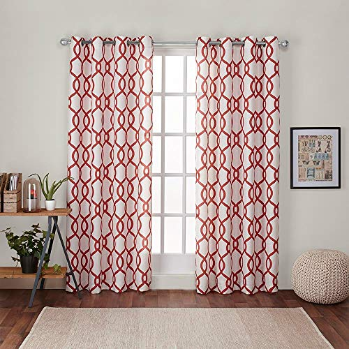 Exclusive Home Curtains Kochi Linen Blend Window Curtain Panel Pair with Grommet Top, 54x108, Mecca Orange, 2 Piece A Bed Geometric Curtain