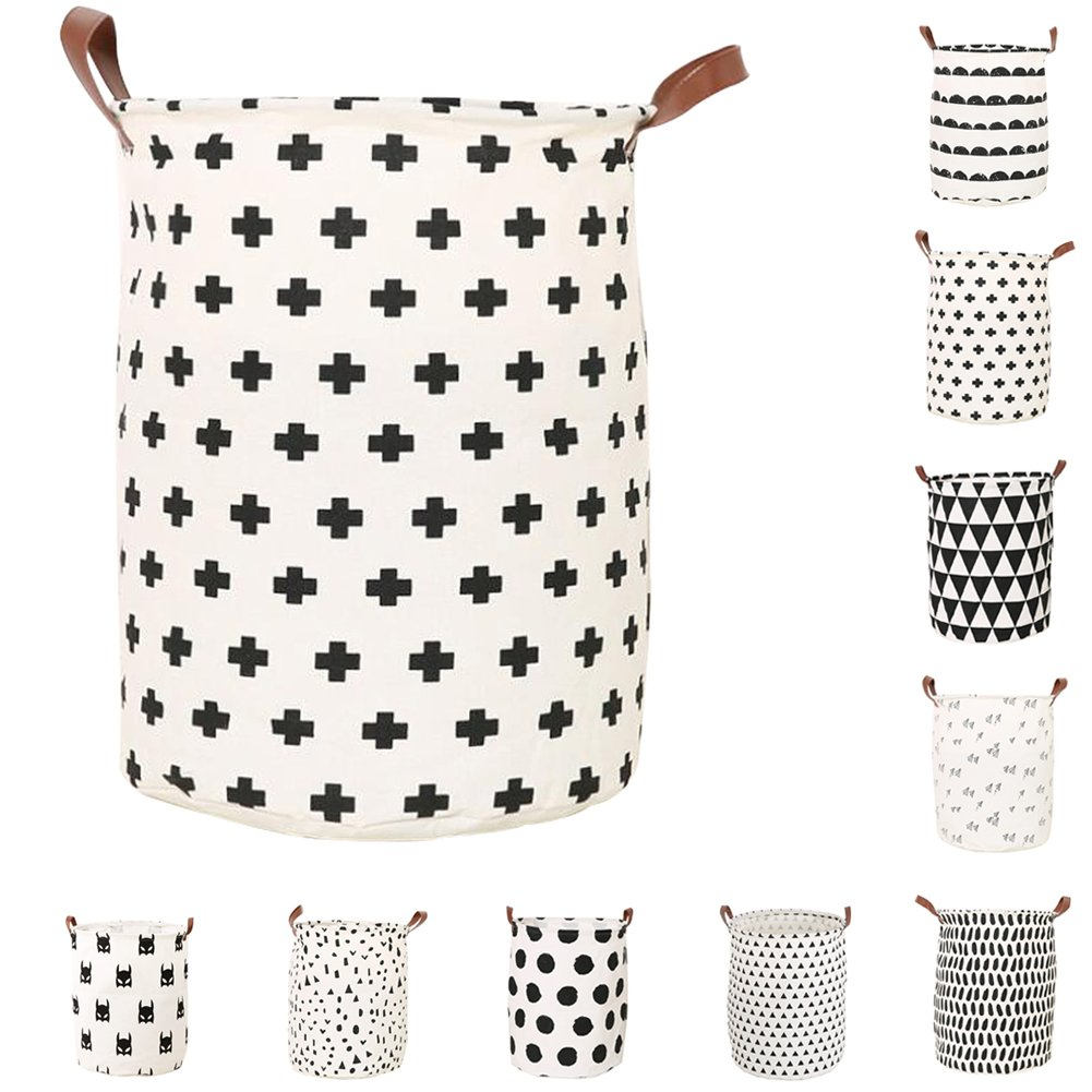Foldable Storage Basket Canvas Storage Bins Round Hamper Bucket Organizer with Durable Handle for Bedroom, Closet, Office, Toys, Laundry from Lesirit (G)