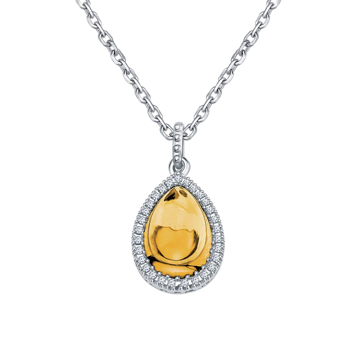 Ringjewels 0.09 Ct Pear Cut Citrine /& Sim Diamond Pendant with 18 Chain in 14K White Gold Plated 925