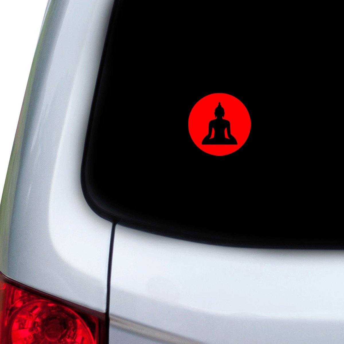 Hoods Doors StickAny Car and Auto Decal Series Buddah Circle Sticker for Windows Red