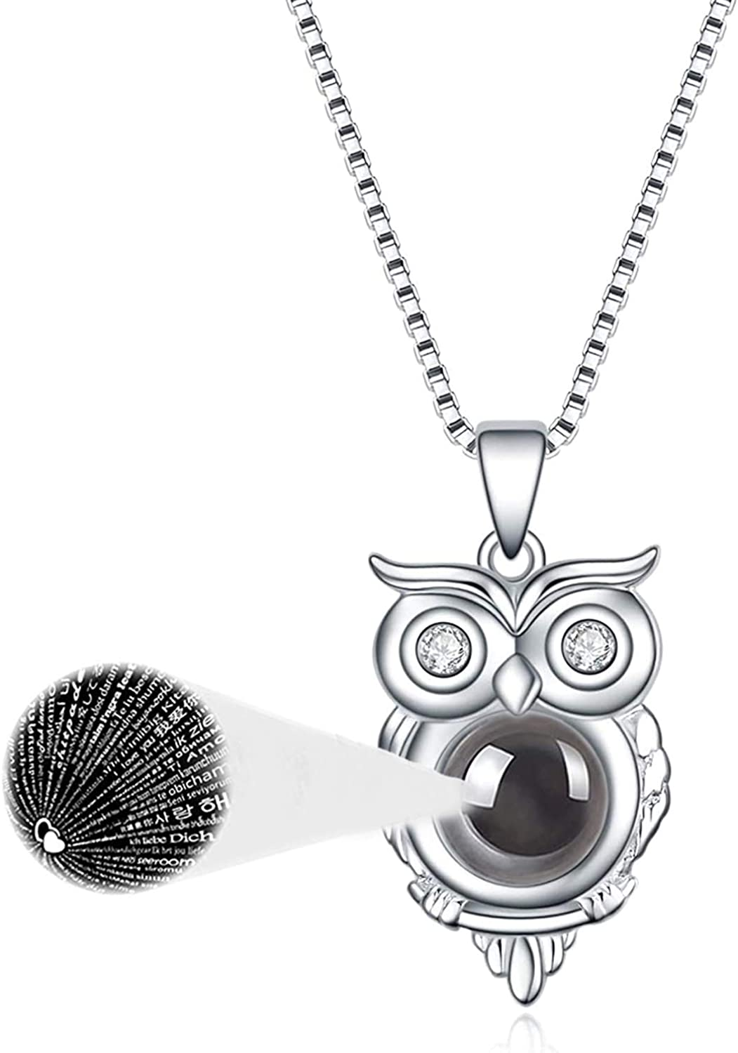 925 Sterling Silver Owl Pendant Necklace Openwork Outline Bird Owls Gift NEW