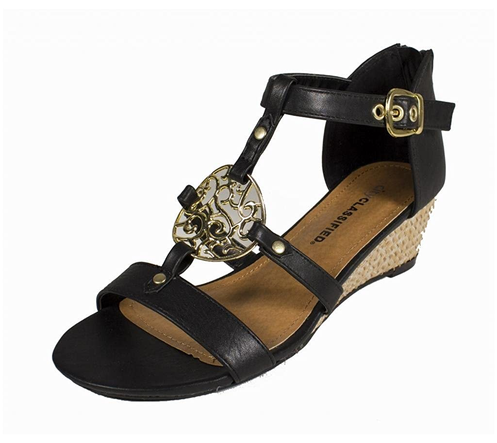 Lucas! By City Classified Motif Medallion Open Toe Strappy Wedge Sandal with Back Zipper in Black Leatherette B00BUD0ZW4 6 B(M) US