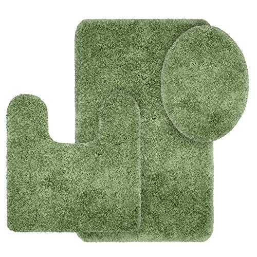 Better Homes and Gardens Thick and Plush 3-Piece Bath Rug Set, Terrance Green