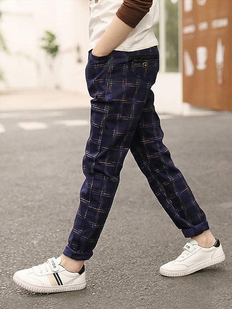 Boys Simple Fashion Casual Plaid Drawstring Pants