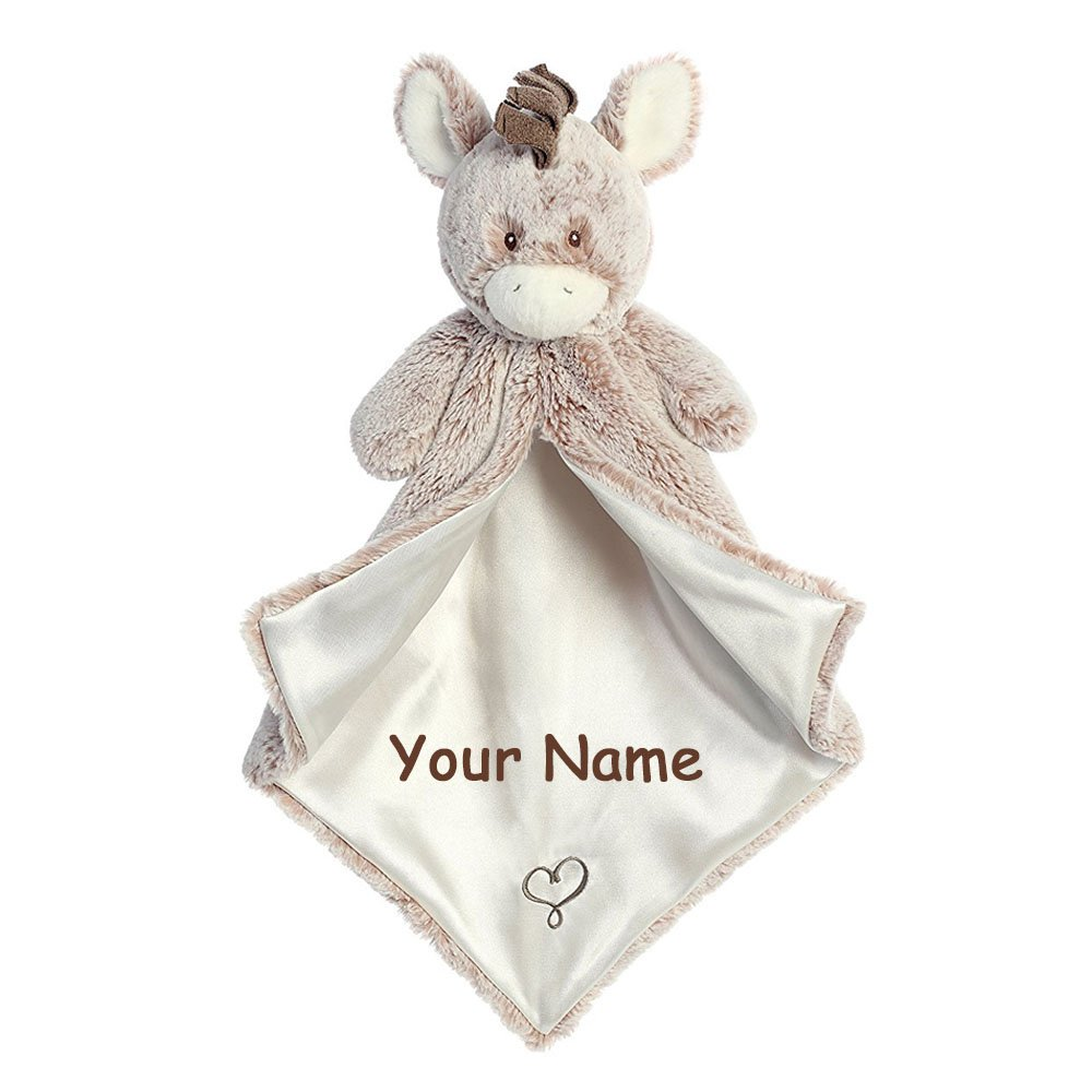 Aurora Baby Personalized Brown and Tan Dwee Donkey Luvster Plush Blanket with Heart for Baby Boy or Baby Girl - 17 Inches