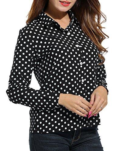 SE MIU Women's Chiffon Long Sleeve Polka Dot Office Button Down Blouse Shirt Tops Black