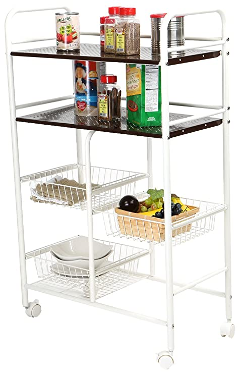 2a5406f01ba2 Mind Reader 3 Tier Portable Metal Top Kichen Trolley, Utility Cart, White