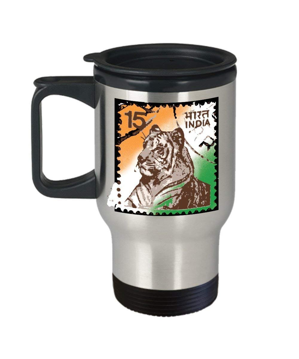 Indian Tiger Travel Mug - Indian Stamp Coffee Cup- India Pride & Culture Gift - Stainless Steel Coffee Tumbler