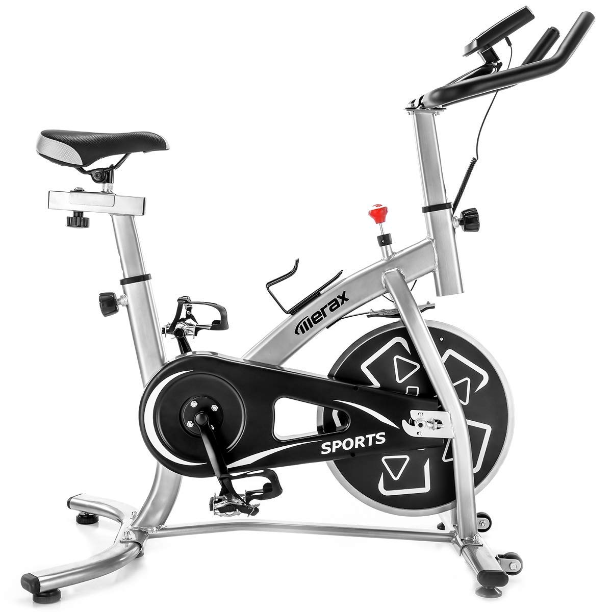 Merax Indoor Cycling Bike Smooth Quiet Belt Drive Exercise Bike Stationary Bicycle Home Cardio Workout Bike with w Pulse Sensor, LED Monitor, Bottle Holder