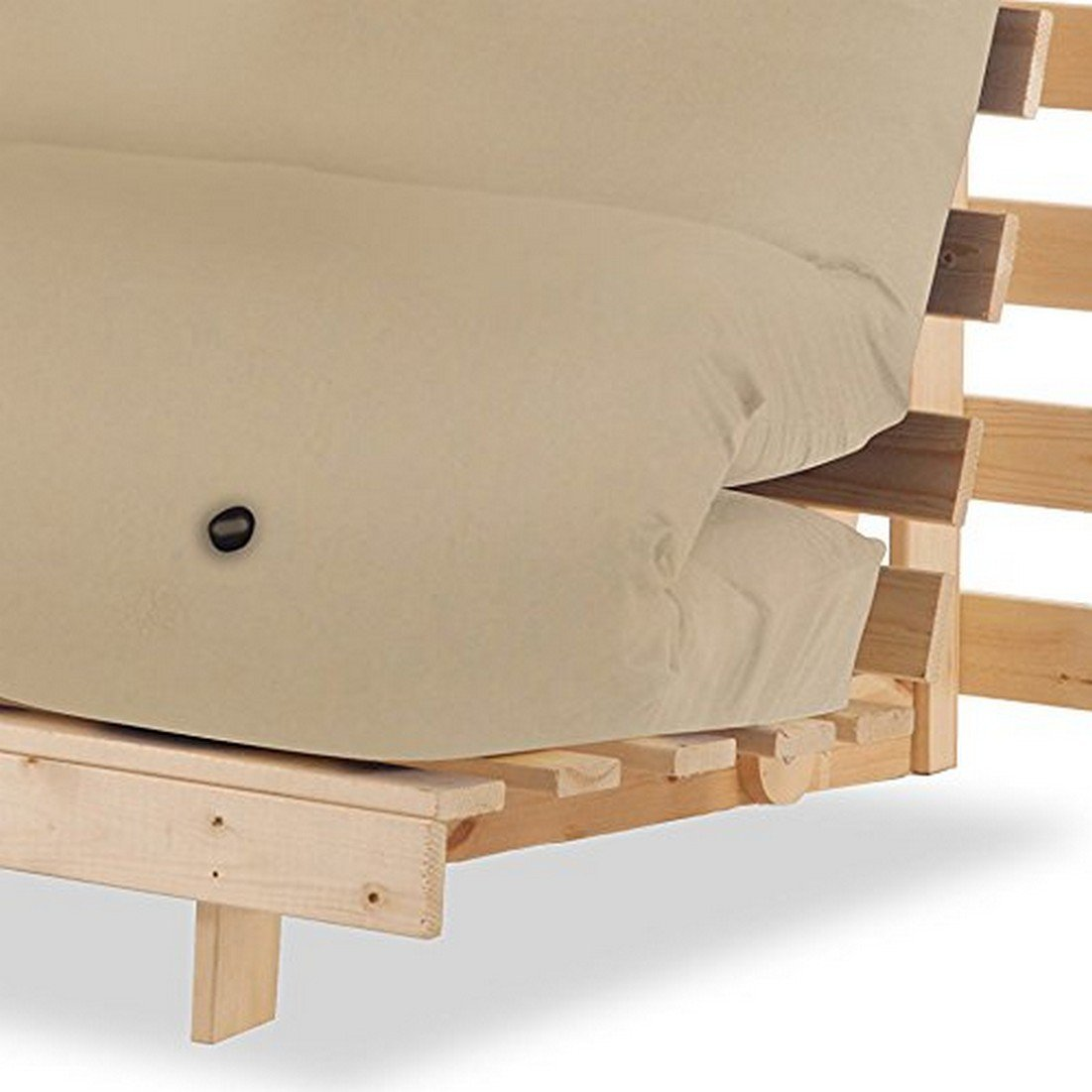 Black Humza Amani Wood Luxury 1 Seater Metro Futon Sofa Bed Frame with Futon Mattress Set