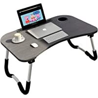 Foldable Laptop Table Tray Portable Lap Desk Notebook Stand with ipad Holder Cup Slot for Indoor Outdoor Camping Study Eating Reading Watch Movies on Couch Sofa Floor (B-Black)