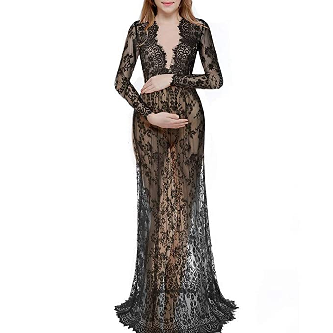 faece25e8289a Maternity Dress Women V Neck Long Simple Glamorous Sleeve Lace Maternity  Gown Maxi Photography Dress Elegant Vintage Transparent Maternity Dress: ...