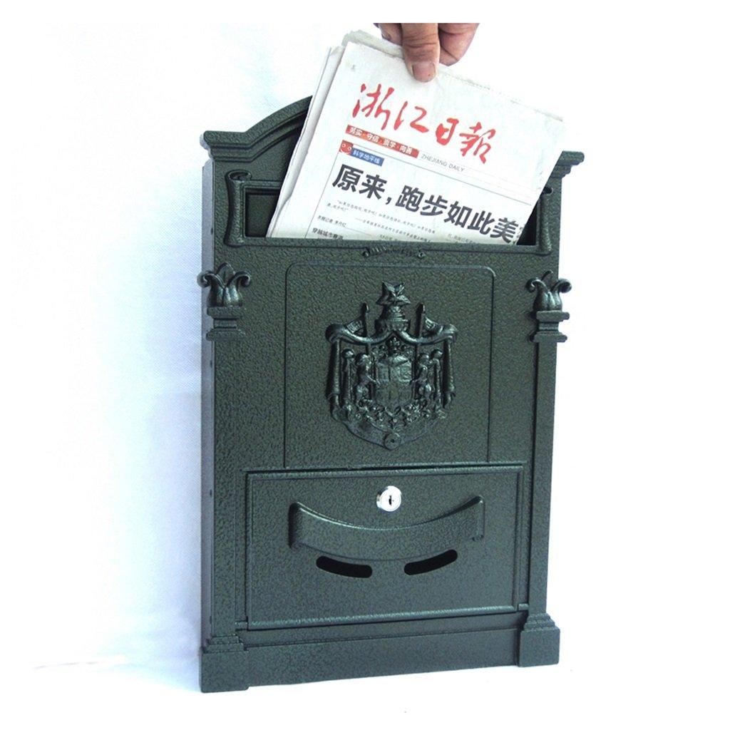 HTDZDX メールボックスヴィラ郵便箱ロッククリスタルアイロンロック壁付きレトロポストボックス防水大型新聞 (Color : B)  B B07SW1Z6VZ