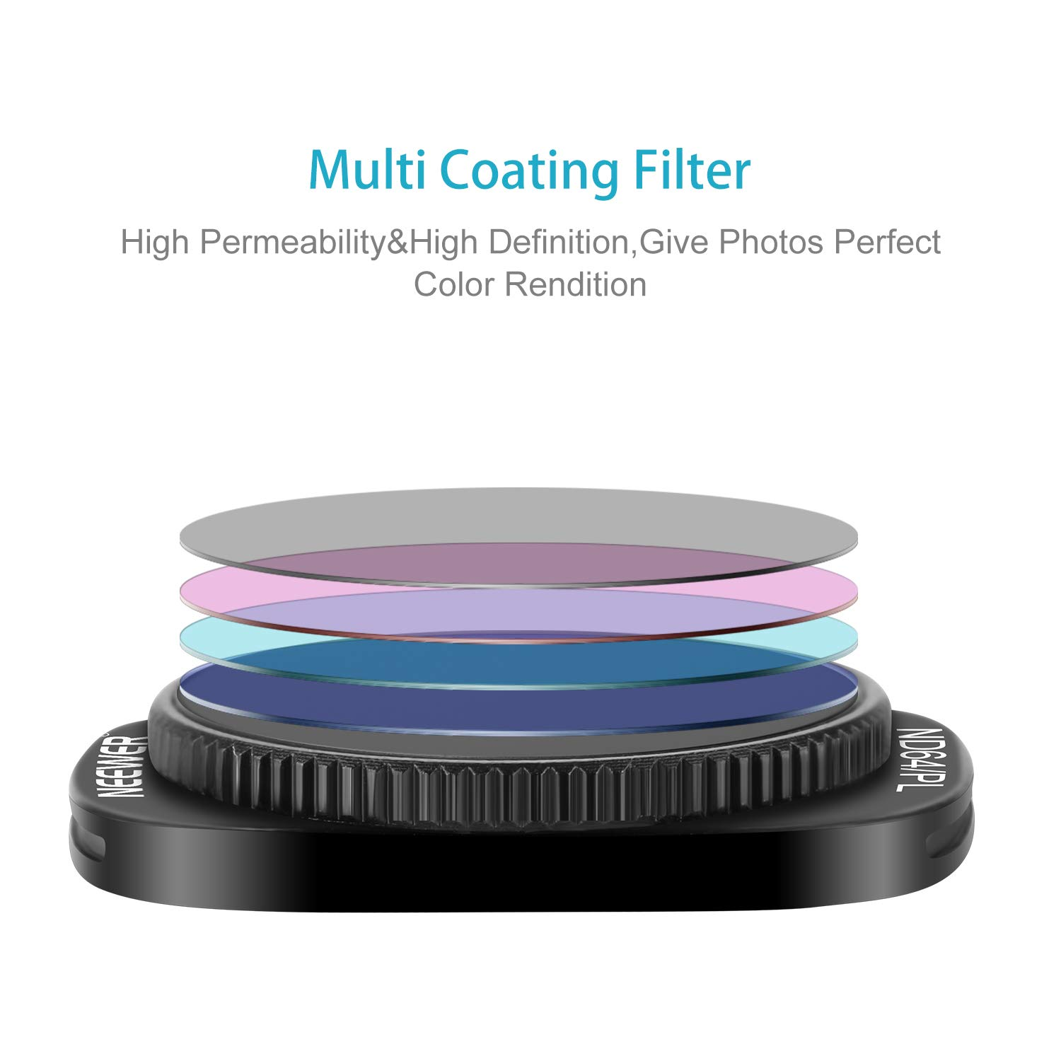 ND8//PL Black Neewer Magnetic ND//PL Filter Kit for DJI Osmo Pocket Camera-4 Pieces Made of Optical Glass and Aviation Aluminum Frame ND16//PL and ND32//PL ND64//PL Filter