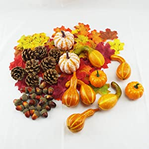 MerryNine Artificial Fruits for Decoration,Fake Pumpkins,Lifelike Maple Leaves with Realistic Acorn and Pinecones;Artificial Vegetables for Halloween Thanksgiving Autumn Ornaments (Fruits-Set-162)