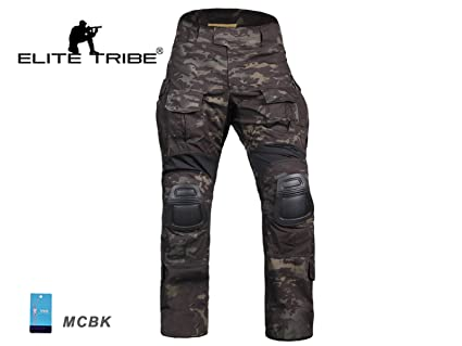 b02daa4601e Men Military Airsoft Paintball BDU Pants Combat Gen3 Tactical Pants with  Knee Pad Multicam Black (