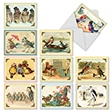 M2344OCB Sweet Tweets: 10 Assorted Blank All-Occasion Note Cards Featuring Vintage Birds and Owls Enjoying Scenes from Everyday Life, w/White Envelopes.
