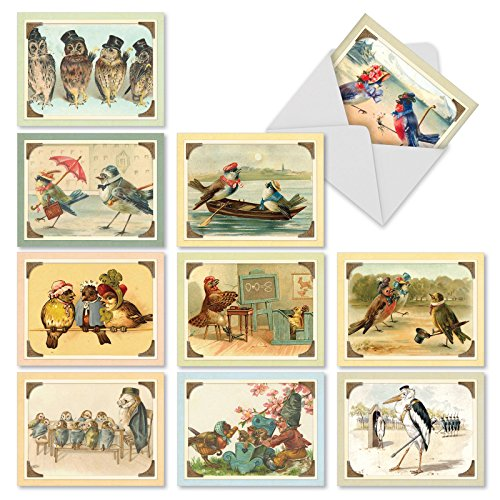 M2344OCB Sweet Tweets: 10 Assorted Blank All-Occasion Note Cards Featuring Vintage Birds and Owls Enjoying Scenes from Everyday Life, w/White Envelopes. (Note Umbrella)