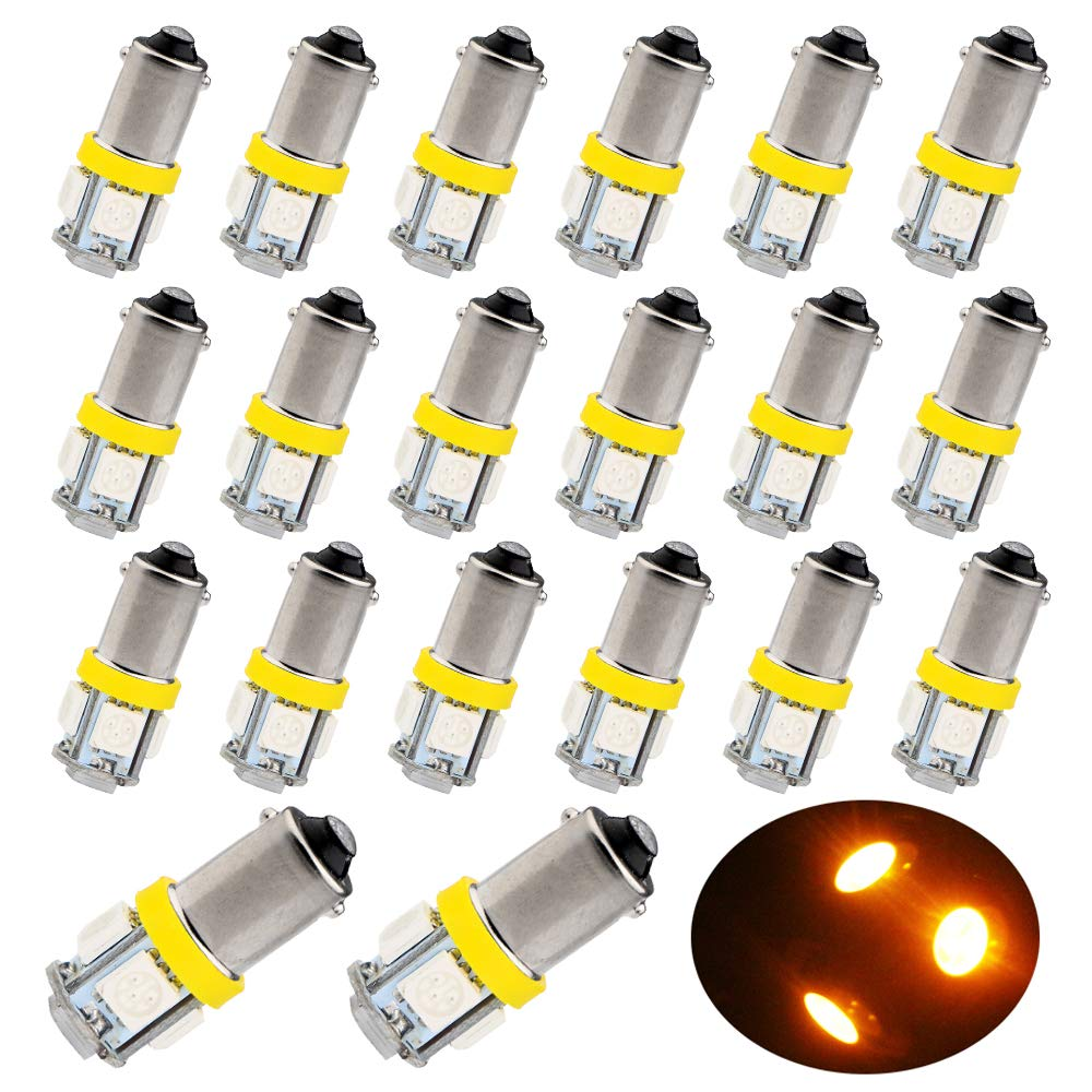 EverBrightt 20-Pack Blue BA9S 5050 5SMD Led Bulbs Wedge Light License Plate Lamp Side Maker Light 12V