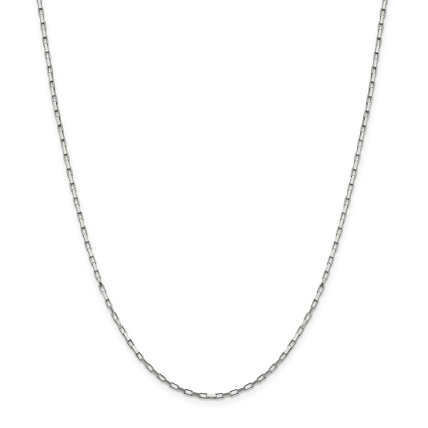 925 Sterling Silver 1.6mm Elongated Polished Box Chain Necklace 16-24