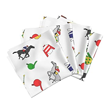 47dc2fc0 Amazon.com: Roostery Kentucky Derby Linen Cotton Dinner Napkins ...