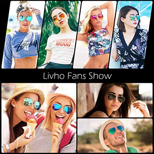 Livhò Sunglasses for Men Women Aviator Polarized Metal Mirror UV 400 Lens Protection (Gold Grey+Blue Green) by Livhò (Image #6)