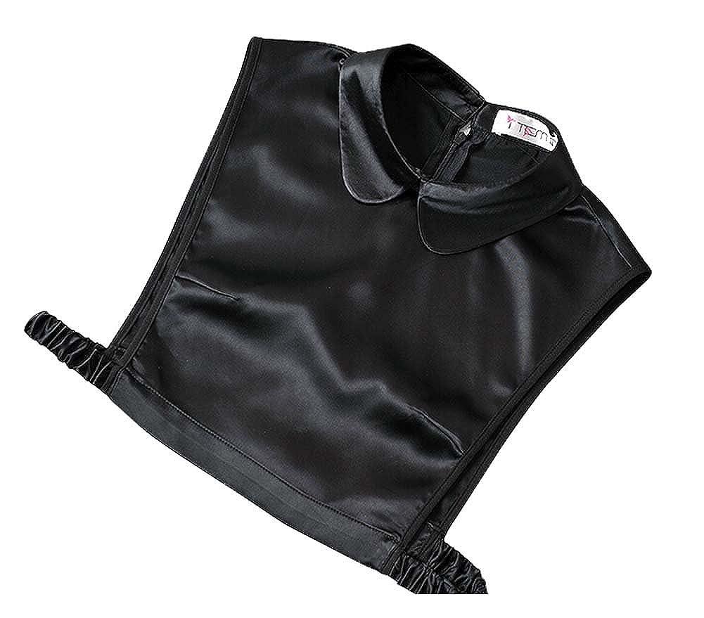 Imitation Silk Stylish Decorative Fake Collar False Collar Round Black