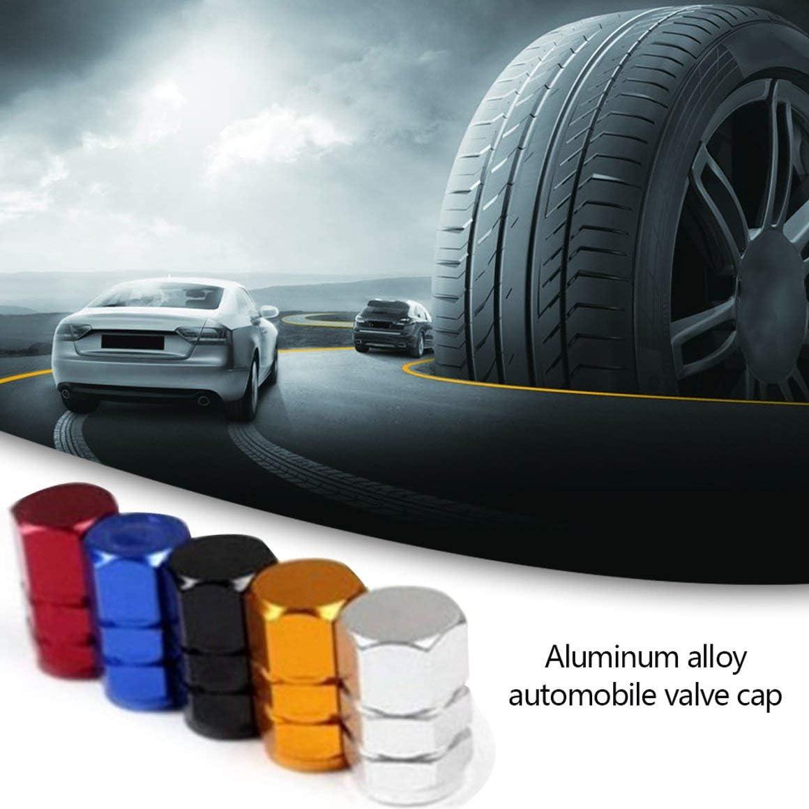 Funnyrunstore 4Pz Set Tappo valvola in Lega di Alluminio per Pneumatici Automobili Tappi valvola Antipolvere per valvole Accessori Decorativi Auto Nero
