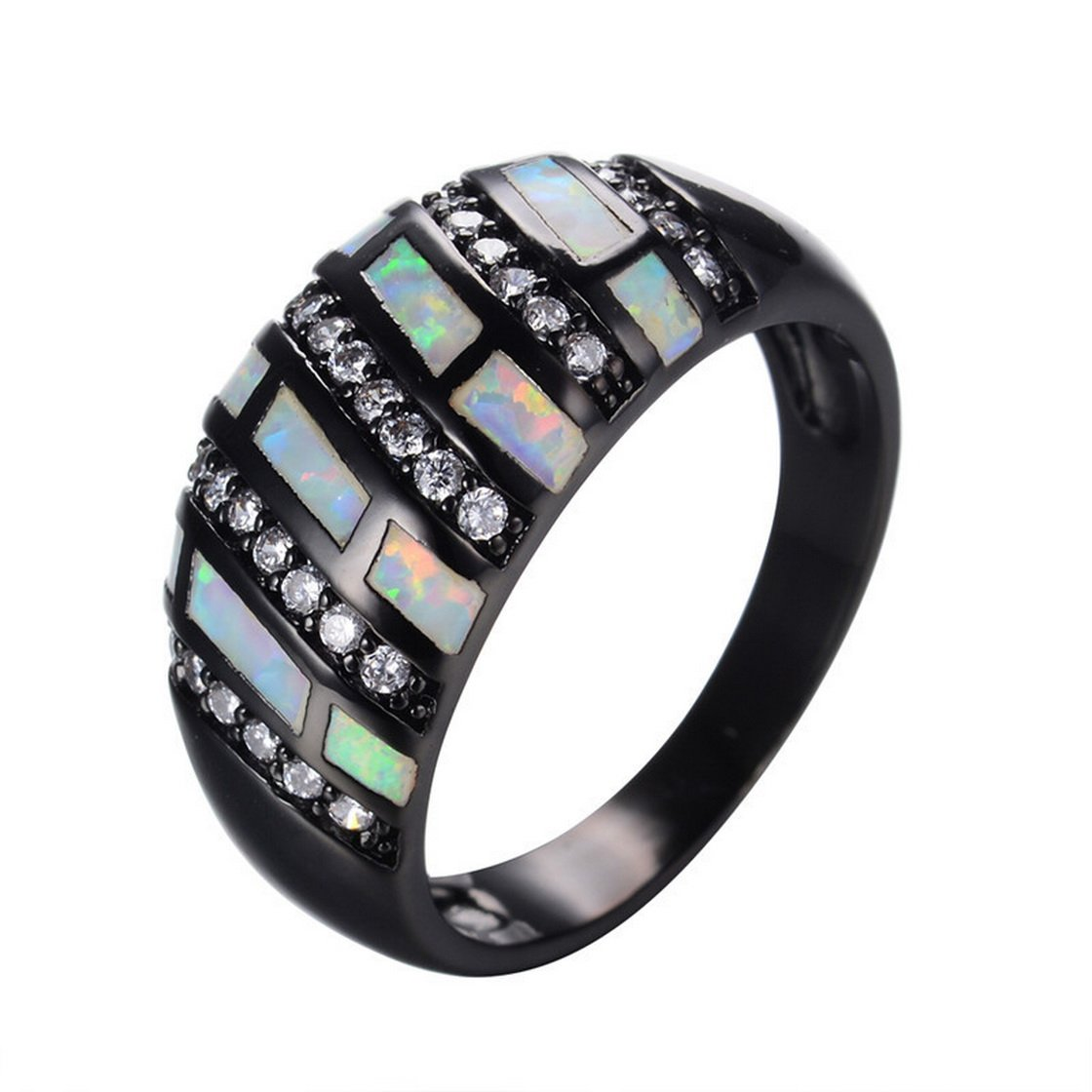 WOWJEW Elegant White Fire Opal Jewelry Clear Zircon Ring Vintage 10KT Black Gold Filled Wedding Crystal Rings