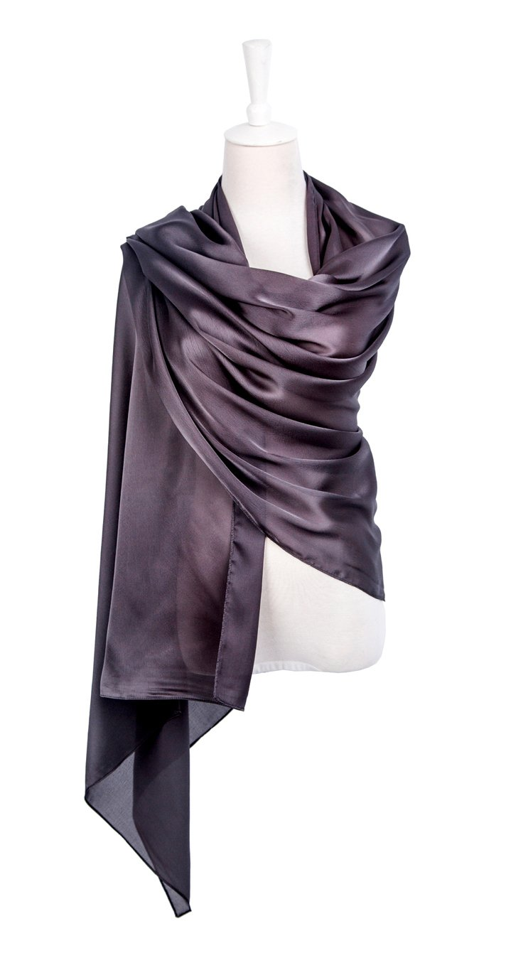 1920s Gatsby Weddings Evening Scarfs,Sheer Glitter Sparkle Piano Shawl Wrap (Silk-Mineral Gray)