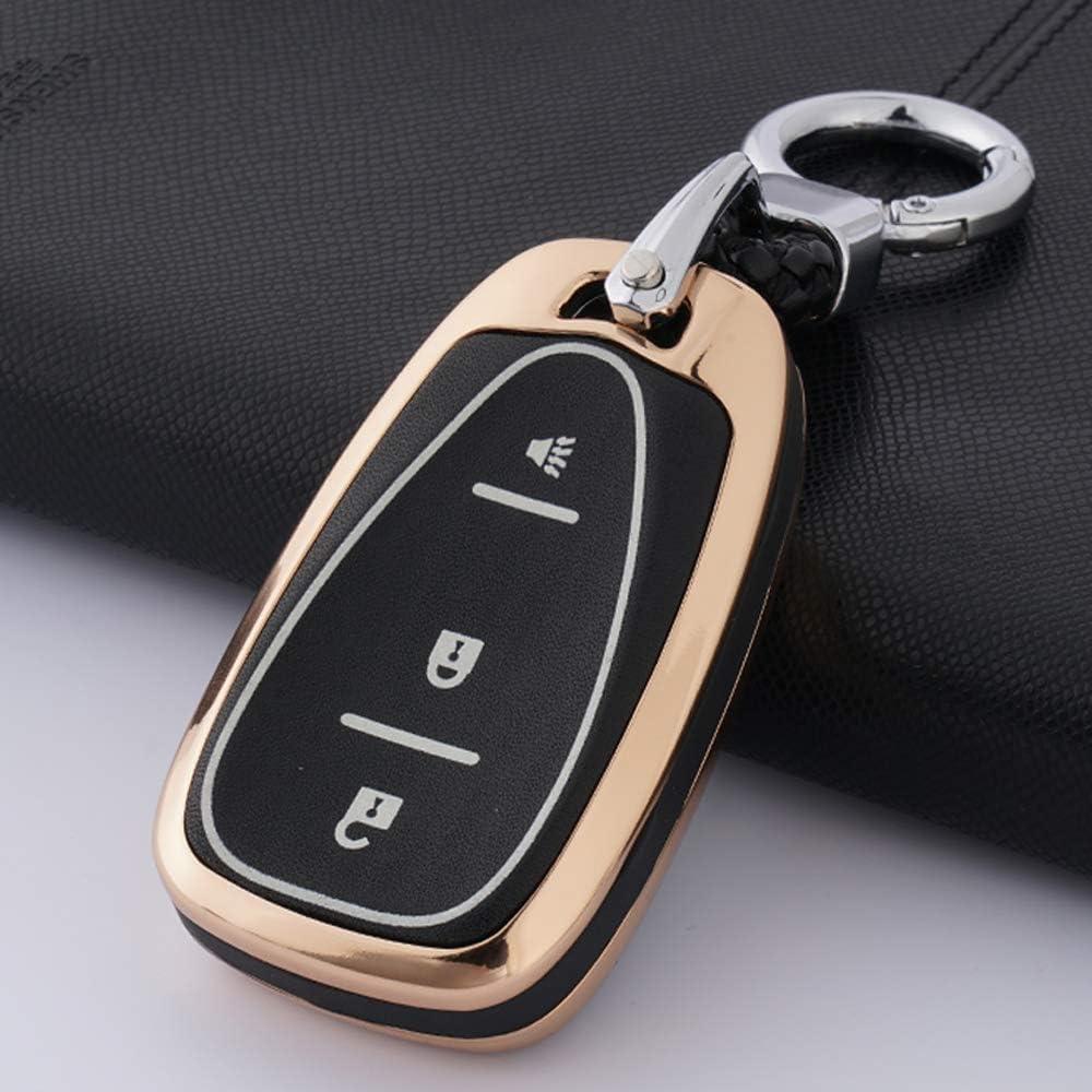 Ontto Zinklegierung Autoschlüssel Hülle Cover Für Chevrolet Malibu Camaro Cruze Spark Equinox Sonic Volt Bolt Schlüsselhülle Mit Schlüsselanhänger Schlüssel Schutz Etui Fernbedienung 3 Tasten Golden Auto