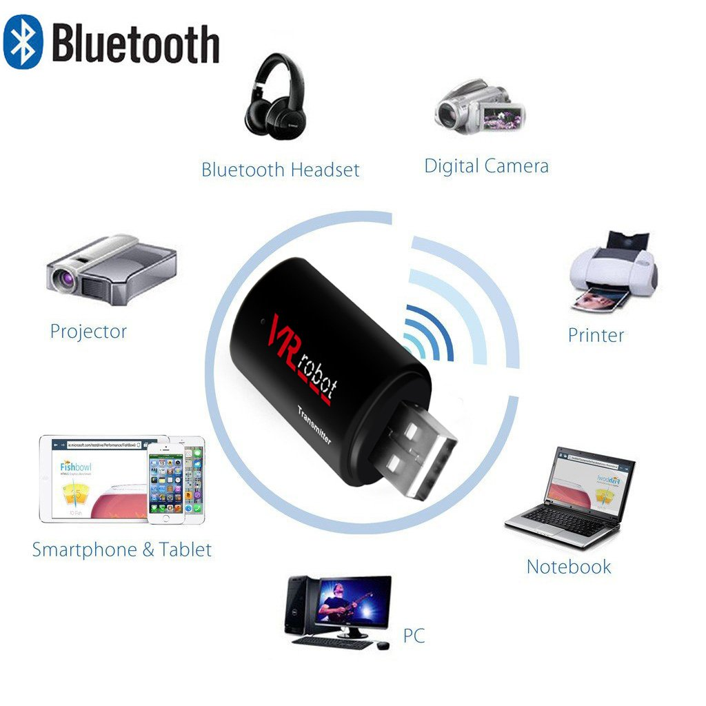 VR-robot 3.5mm Portable Stereo Audio, Wireless Bluetooth Transmitter, for TV, iPod, MP3/MP4,USB Power Supply(Black) by VR-robot (Image #3)